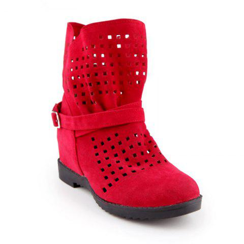 The Round Head Thick with Inside Raise Hollow Short Boots - RED 32