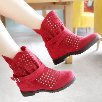 The Round Head Thick with Inside Raise Hollow Short Boots - RED RED