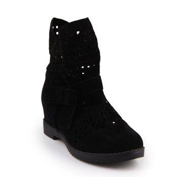 The Round Head Thick with Inside Raise Sweet Bowknot Hollow Short Boots - BLACK BLACK