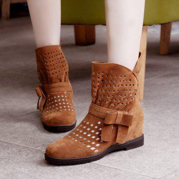 The Round Head Thick with Inside Raise Sweet Bowknot Hollow Short Boots - YELLOW YELLOW