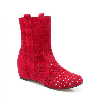 The Round Head Increases Hollow Short Boots - RED RED