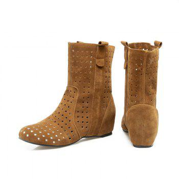 The Round Head Increases Hollow Short Boots - YELLOW YELLOW