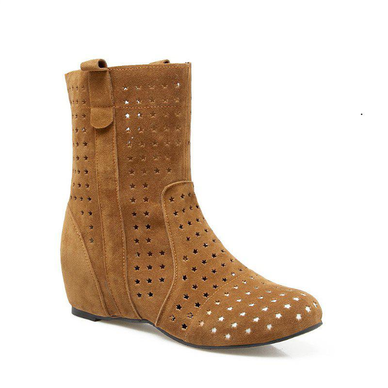 The Round Head Increases Hollow Short Boots - YELLOW 49