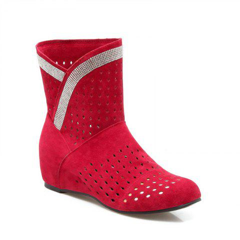 The Round Head Inside Heighten Fashionable Water Drill Hollow Short Boots - RED 35