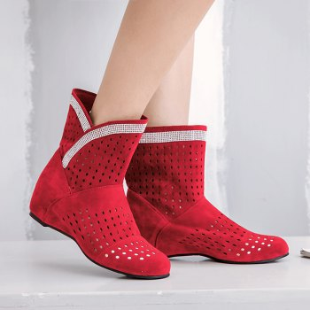 The Round Head Inside Heighten Fashionable Water Drill Hollow Short Boots - RED RED