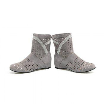 The Round Head Inside Heighten Fashionable Water Drill Hollow Short Boots - GRAY GRAY