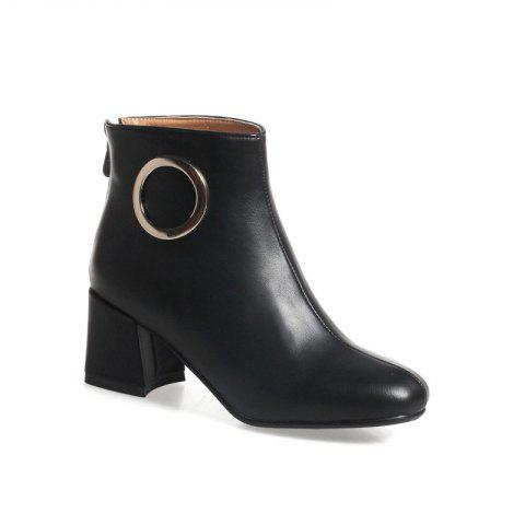 Square with Thick and All-Match Short Boots - BLACK 32
