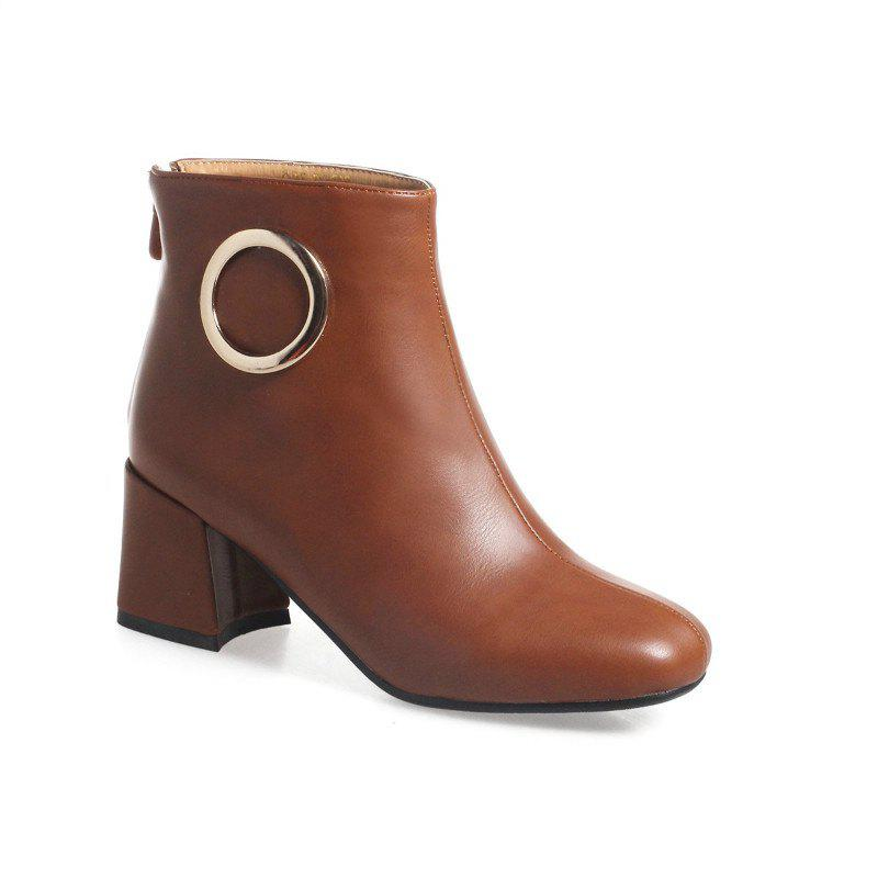 Square with Thick and All-Match Short Boots - BROWN 45