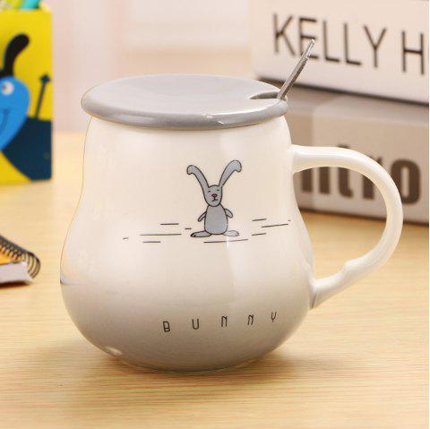 400Ml Cute Cartoon Creative Gradient Ceramic Cup - GRAY
