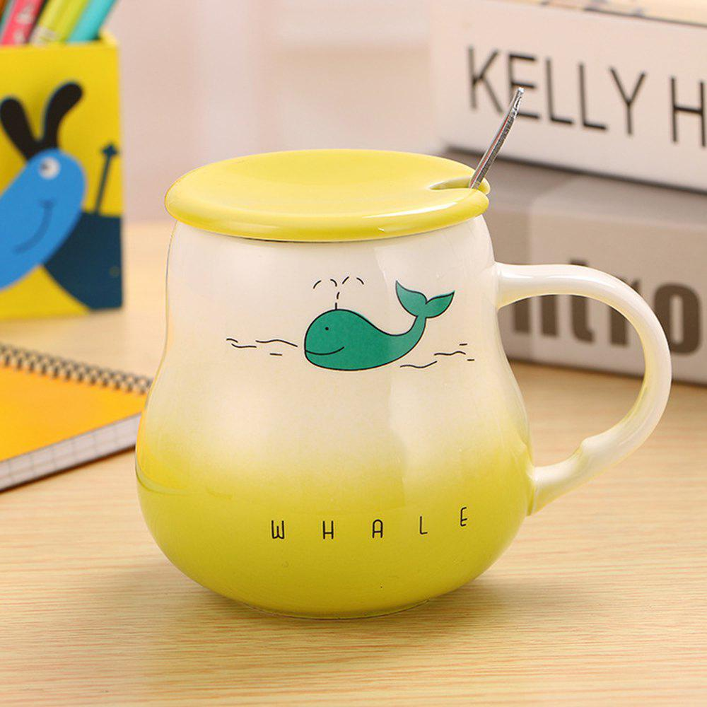 400Ml Cute Cartoon Creative Gradient Ceramic Cup - GRASS GREEN