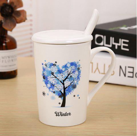 400ML Dumb Light of Four Seasons Tree Ceramic Cup - BLUE