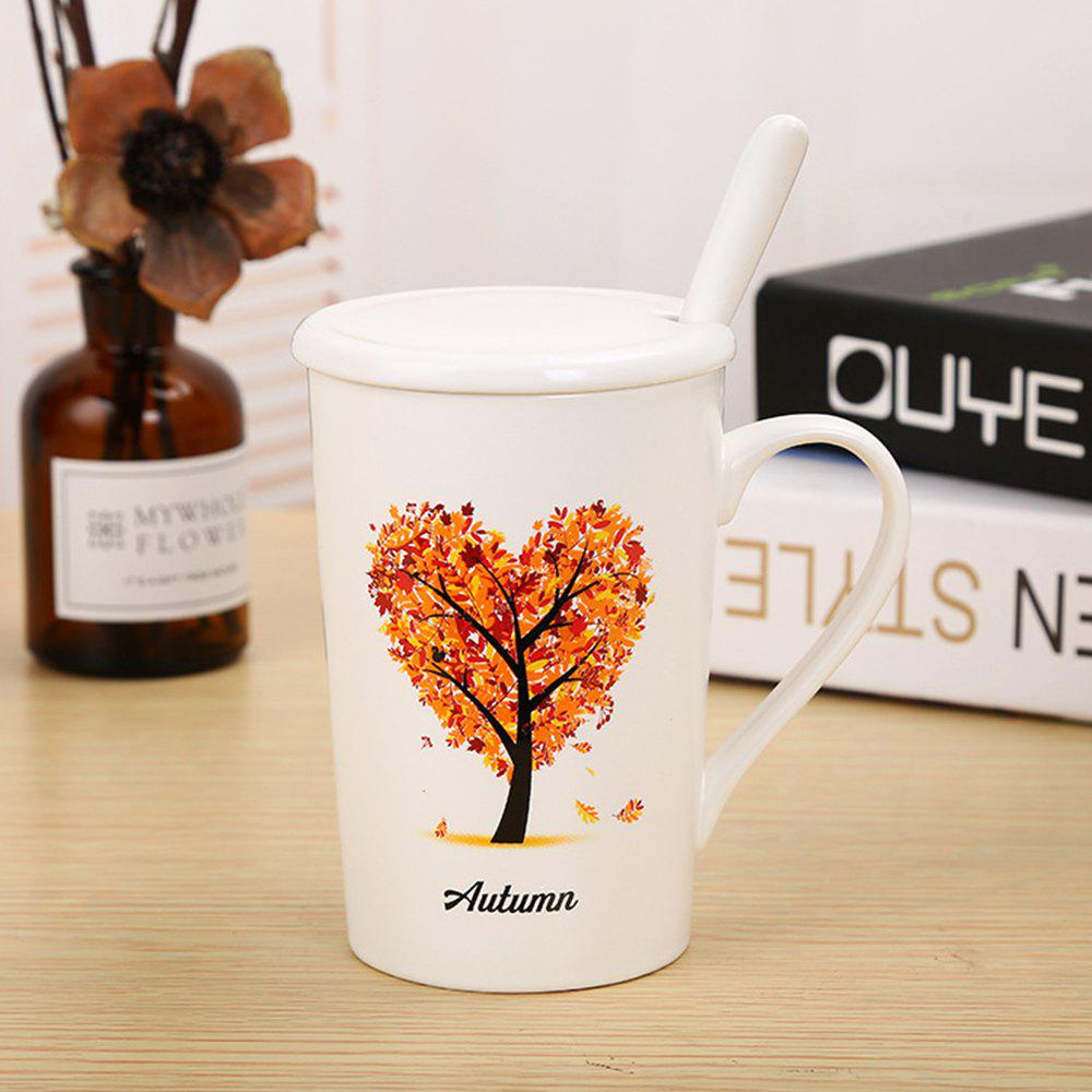 400ML Dumb Light of Four Seasons Tree Ceramic Cup - MANDARIN