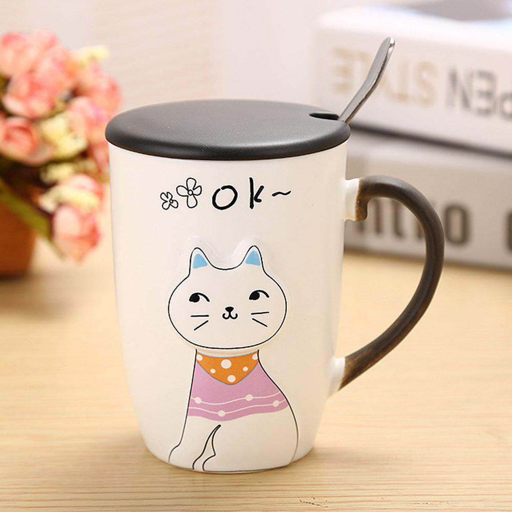 375ML Relief Animal Cat Ceramic Mug - COLORMIX STYLE 3