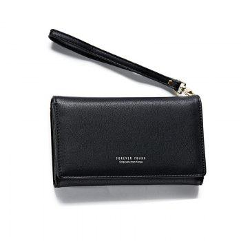 Fashion Women Long Clutch Wallet Ladies Pu Zip Female Card Holder Coin Purse - BLACK