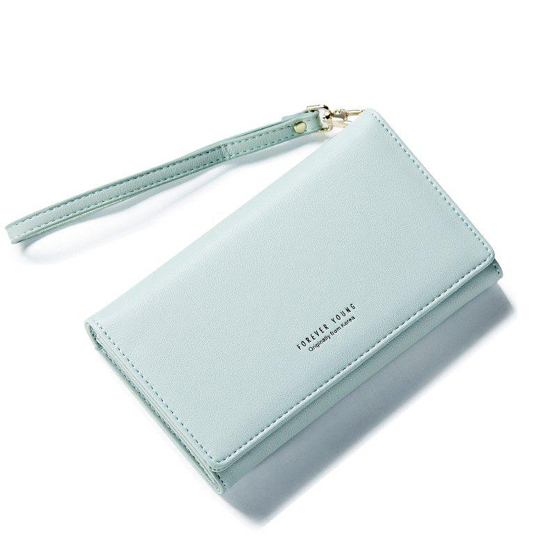 Fashion Women Long Clutch Wallet Ladies Pu Zip Female Card Holder Coin Purse - LIGHT GREEN