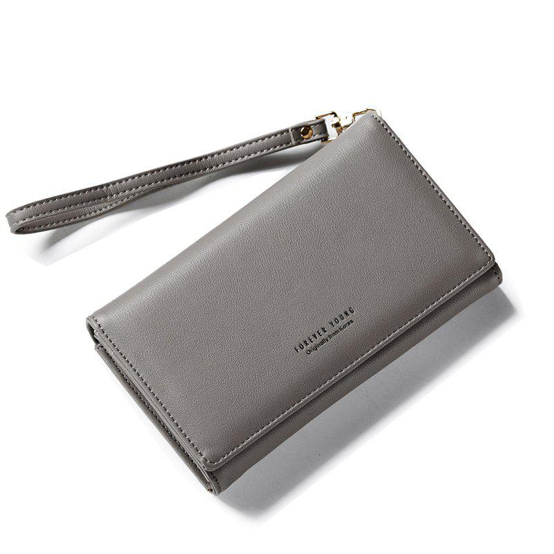 Fashion Women Long Clutch Wallet Ladies Pu Zip Female Card Holder Coin Purse - GRAY