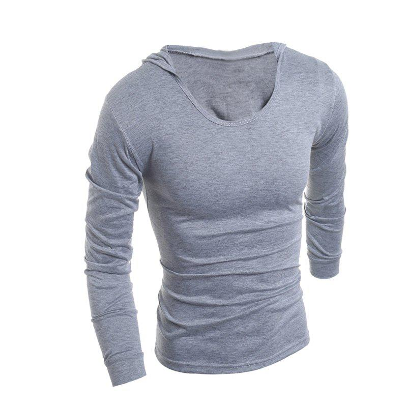 Man'S Slim Hat and Long Sleeve T-Shirt - LIGHT GRAY XL
