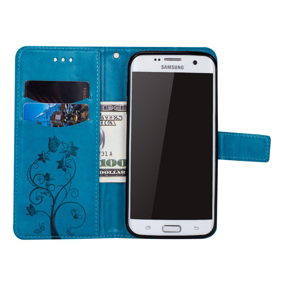 Ants On The Tree PU Leather Dirt Resistant Phone Case for Samsung Galaxy S7 - BLUE