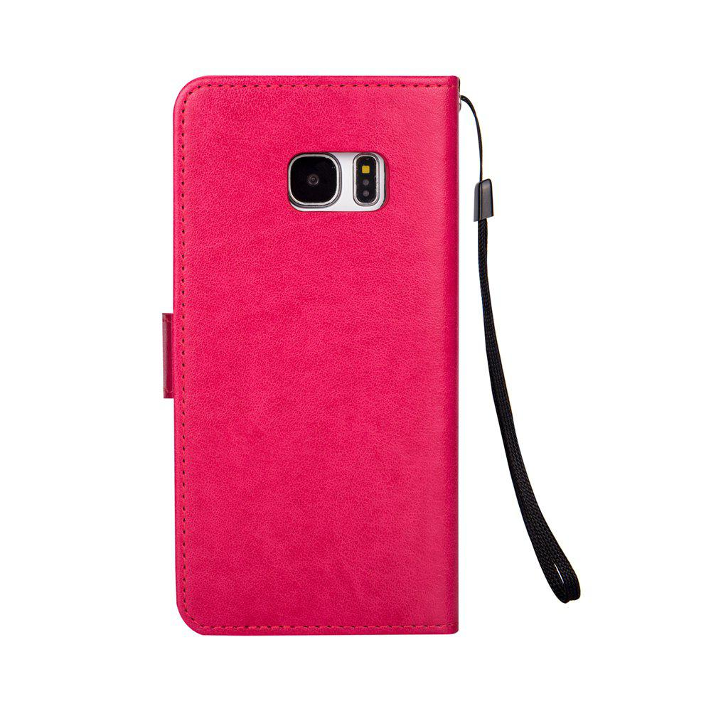 Ants On The Tree PU Leather Dirt Resistant Phone Case for Samsung Galaxy S7 - ROSE RED