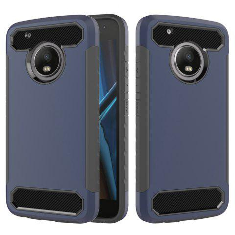 Carbon Fiber 2 In 1 Soft Tpu Protector Phone Case for Moto G5 Plus - BLUE
