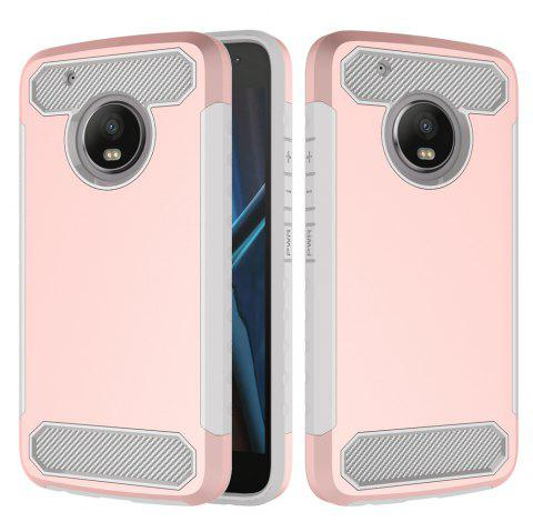Carbon Fiber 2 In 1 Soft Tpu Protector Phone Case for Moto G5 Plus - PINK