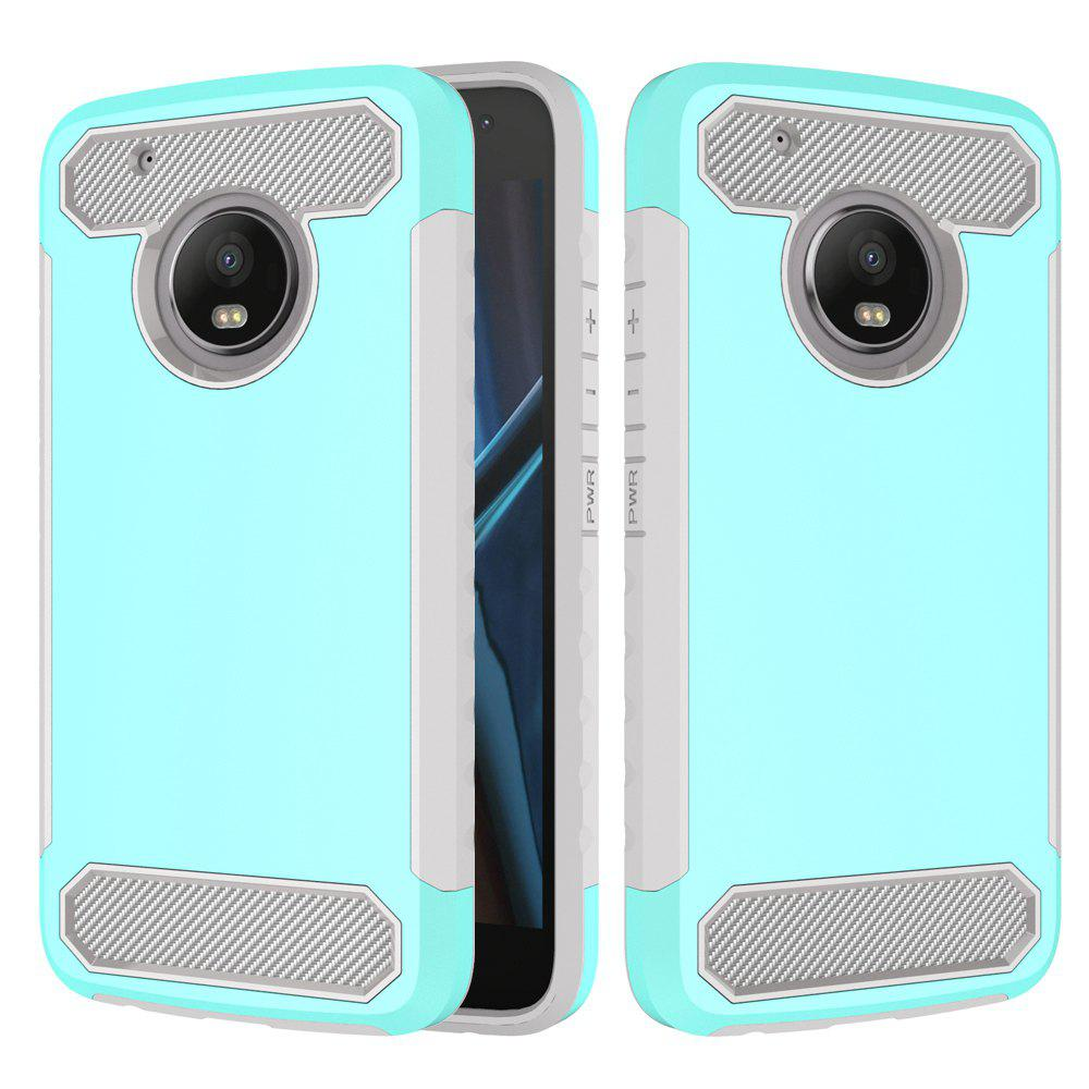 Carbon Fiber 2 In 1 Soft Tpu Protector Phone Case for Moto G5 Plus - LIGHT BLUE