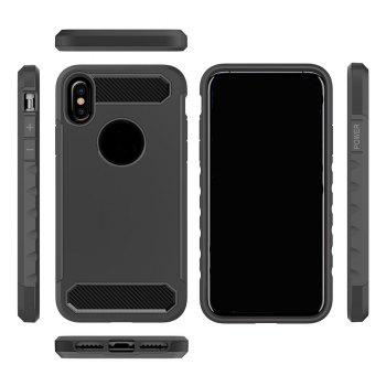 Carbon Fiber 2 In 1 Soft Tpu Protector Phone Case for iPhone X - BLACK