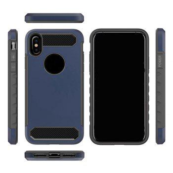 Carbon Fiber 2 In 1 Soft Tpu Protector Phone Case for iPhone X - DEEP BLUE