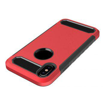 Carbon Fiber 2 In 1 Soft Tpu Protector Phone Case for iPhone X - RED