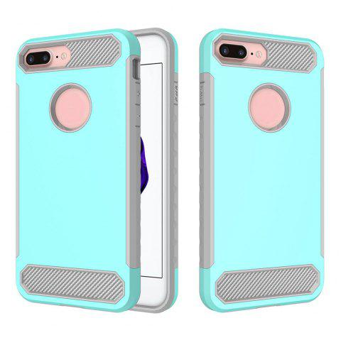 Carbon Fiber 2 In 1 Soft Tpu Protector Phone Case for iPhone 7 Plus - LIGHT BLUE