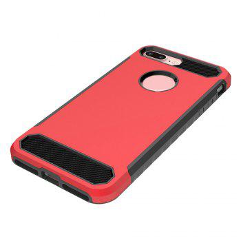 Carbon Fiber 2 In 1 Soft Tpu Protector Phone Case for iPhone 7 Plus - RED