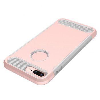 Carbon Fiber 2 In 1 Soft Tpu Protector Phone Case for iPhone 7 Plus - PINK