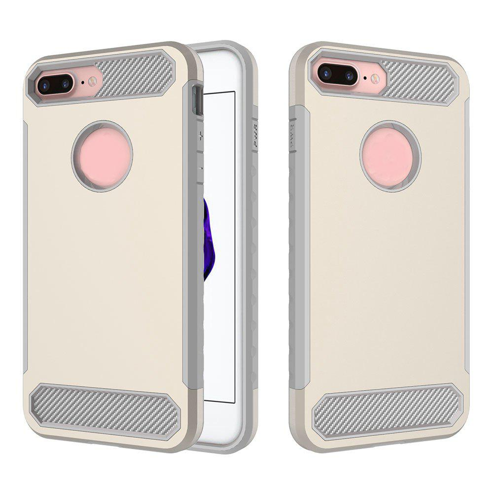 Carbon Fiber 2 In 1 Soft Tpu Protector Phone Case for iPhone 7 Plus - GOLDEN