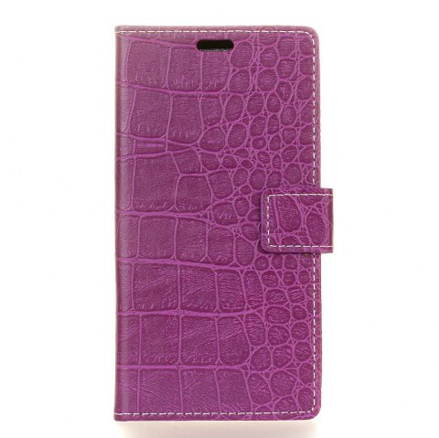 Vintage Crocodile Pattern PU Leather Wallet Case for LG Q6 - PURPLE