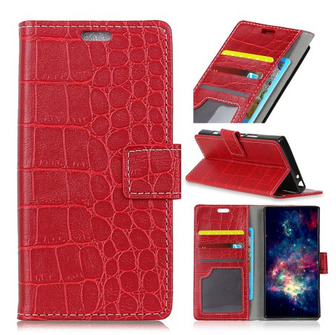 Vintage Crocodile Pattern PU Leather Wallet Case for LG Q8 - RED