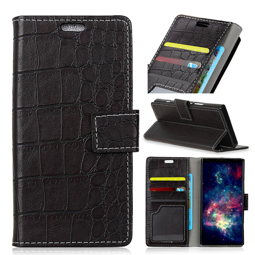 Vintage Crocodile Pattern PU Leather Wallet Case for LG Q8 - BLACK
