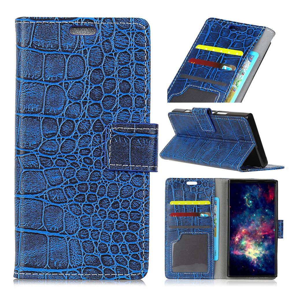 Vintage Crocodile Pattern PU Leather Wallet Case for LG Q8 - BLUE