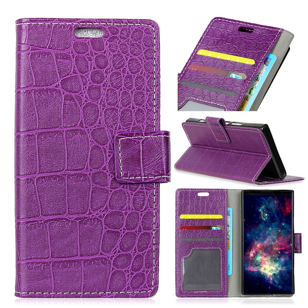 Vintage Crocodile Pattern PU Leather Wallet Case for LG Q8 - PURPLE