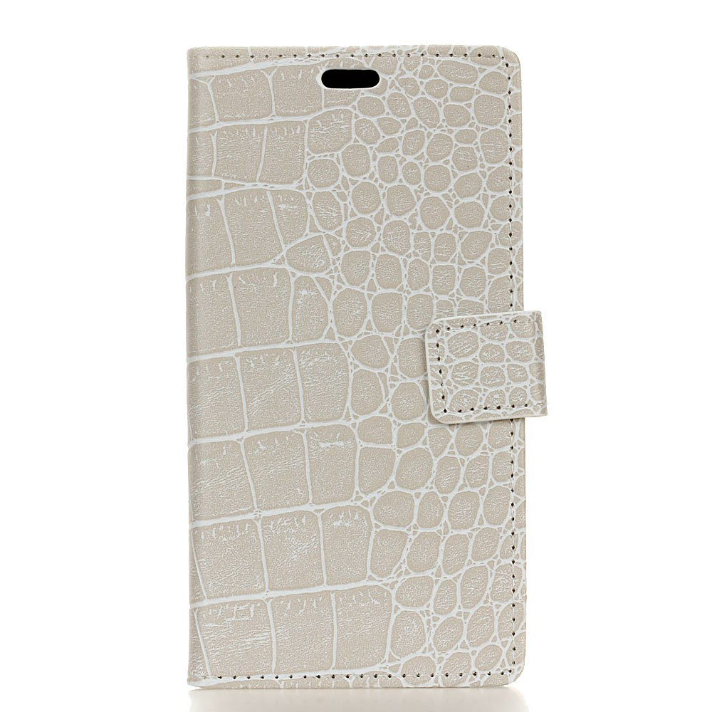 Vintage Crocodile Pattern PU Leather Wallet Case for Doogee Shoot 2 - WHITE