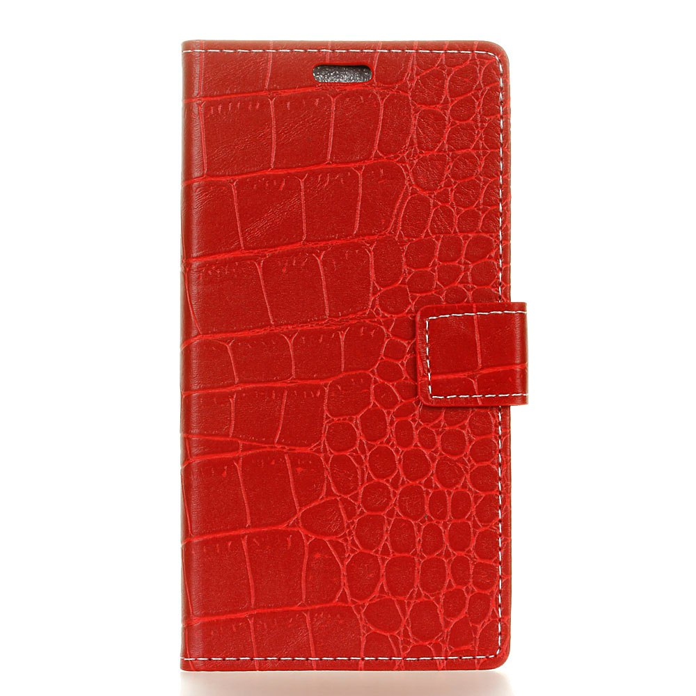 Vintage Crocodile Pattern PU Leather Wallet Case for Doogee Shoot 2 - RED