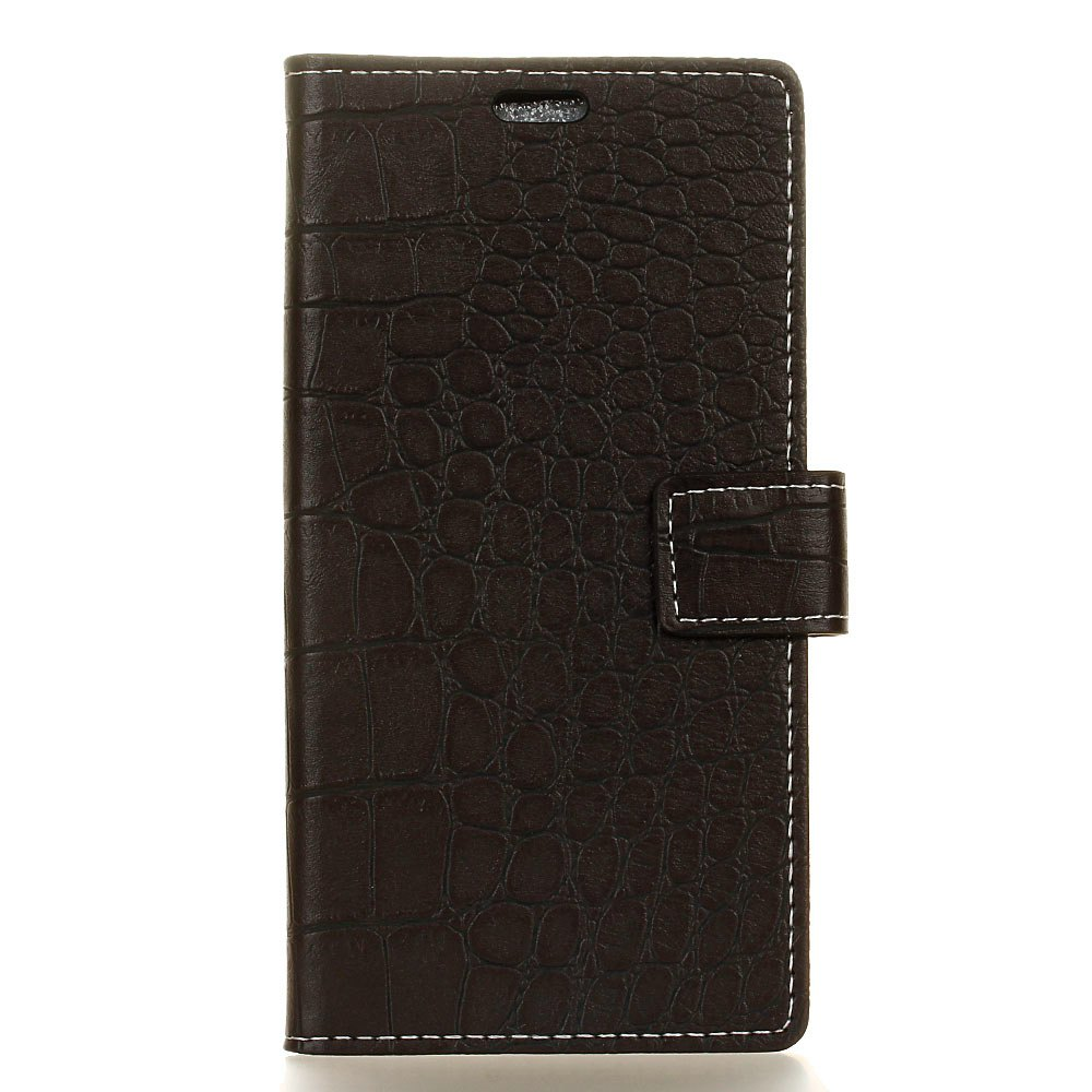 Vintage Crocodile Pattern PU Leather Wallet Case for Doogee Shoot 2 - BLACK