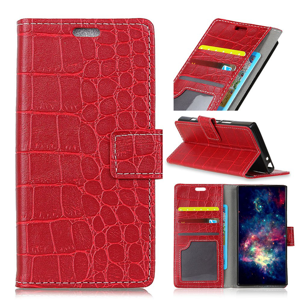 Vintage Crocodile Pattern PU Leather Wallet Case for Xiaomi Redmi Note 4X - RED