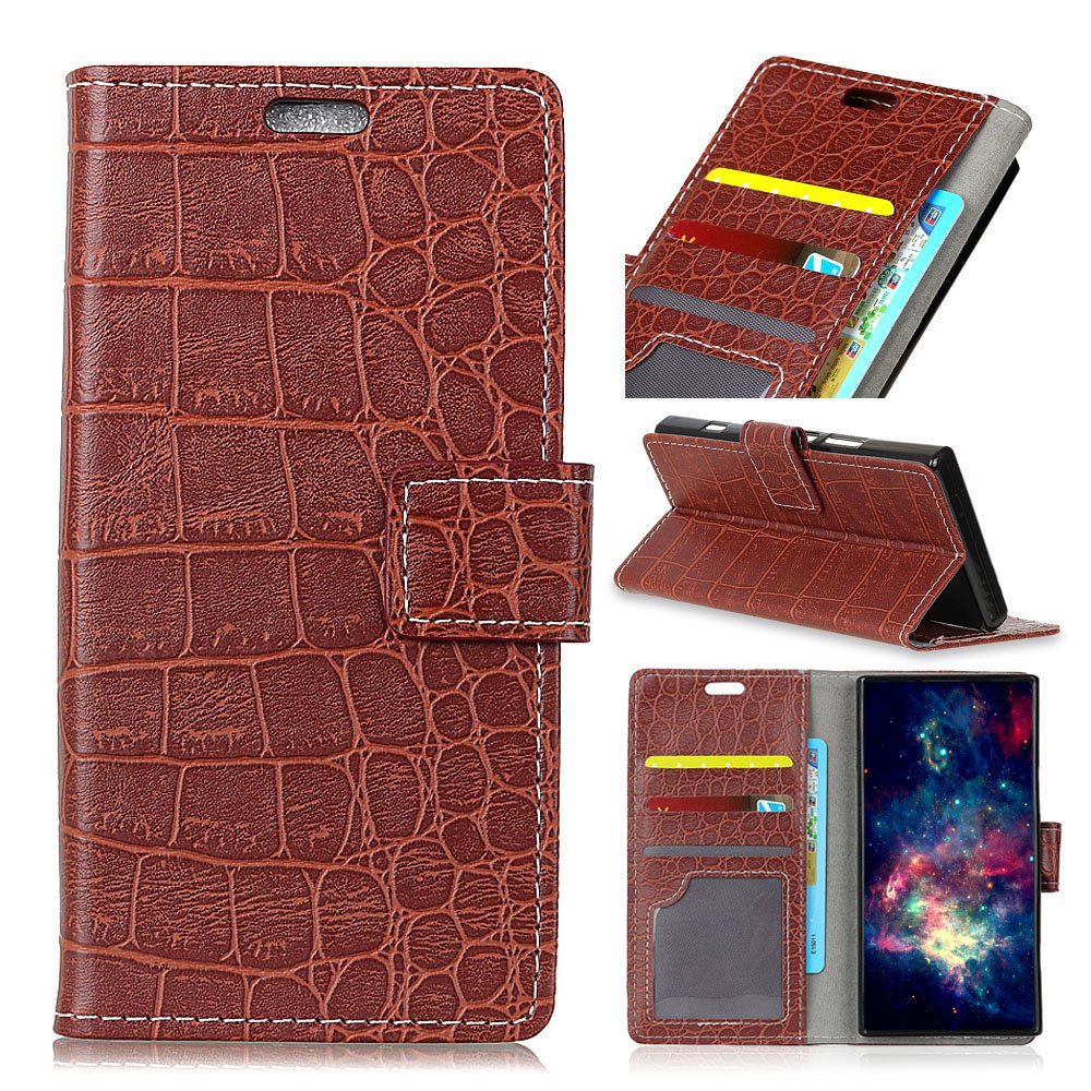 Vintage Crocodile Pattern PU Leather Wallet Case for Huawei Mate 10 - BROWN