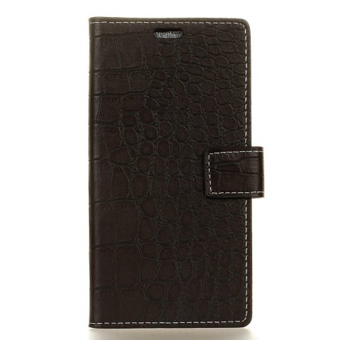 Vintage Crocodile Pattern PU Leather Wallet Case for Huawei Y7 - BLACK