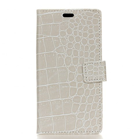 Vintage Crocodile Pattern PU Leather Wallet Case for Huawei Y7 Prime - WHITE