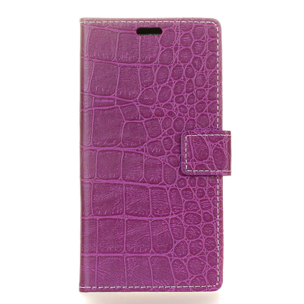 Vintage Crocodile Pattern PU Leather Wallet Case for Huawei Y7 Prime - PURPLE