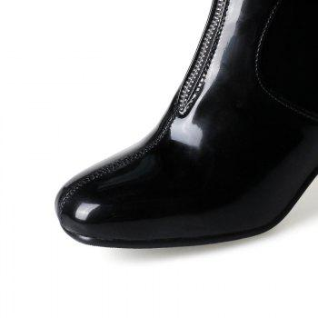 Square-Head Rough Heel with Sexy Patent Leather Ankle Boots - BLACK BLACK