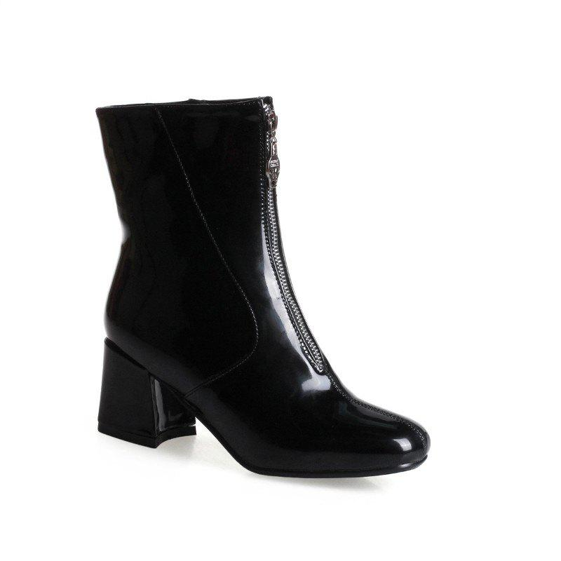Square-Head Rough Heel with Sexy Patent Leather Ankle Boots - BLACK 41