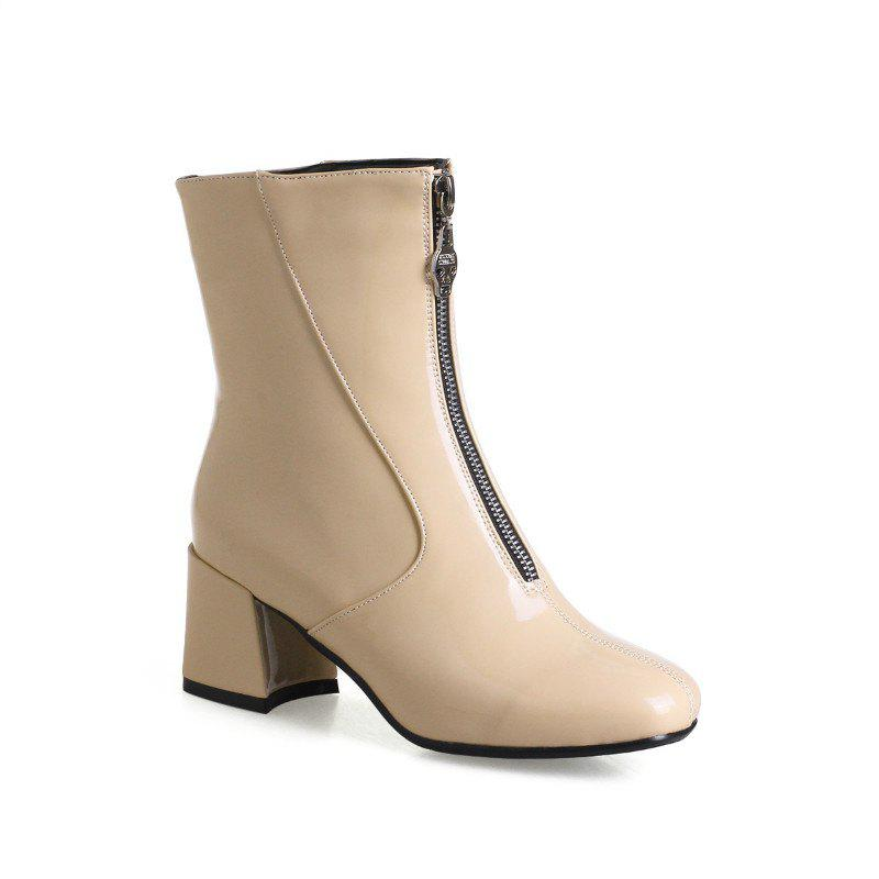Square-Head Rough Heel with Sexy Patent Leather Ankle Boots - APRICOT 34