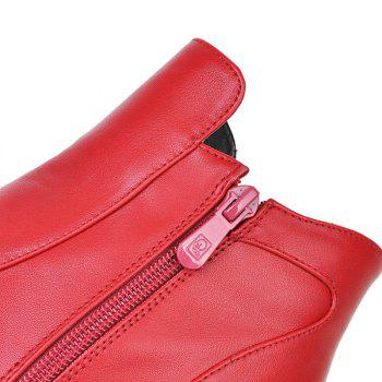 Round with All-Match Bare Boots with Thick - RED RED